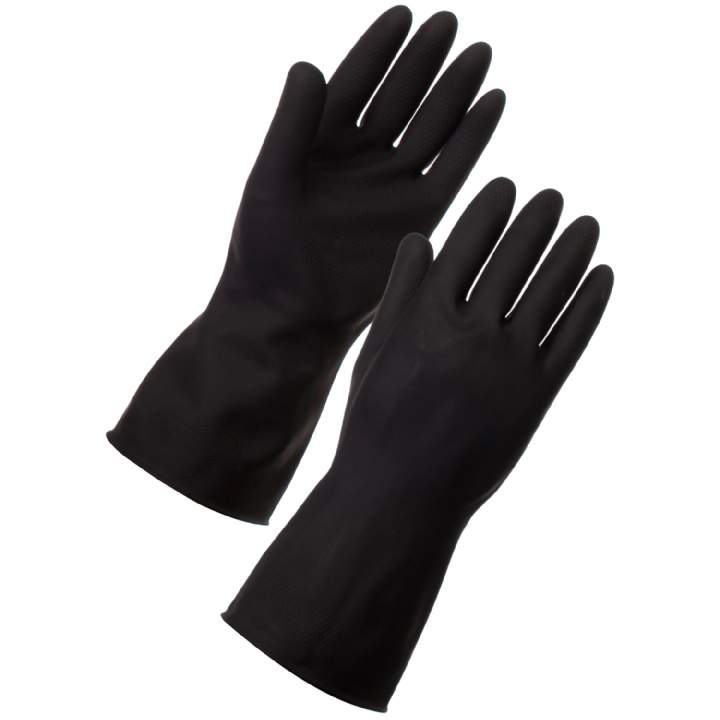 BLACK HEAVYWEIGHT RUBBER GLOVE LARGE - Pair