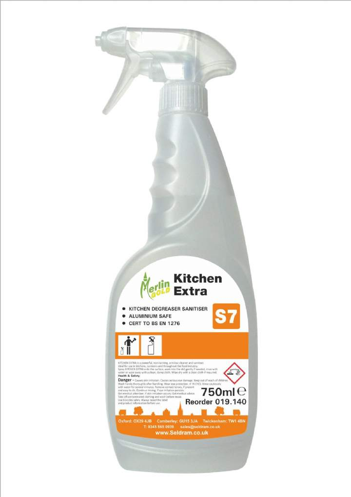 MERLIN S7 KITCHEN EXTRA CLEAN SANATISER 750ml - 6x750ml