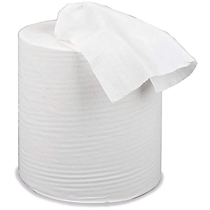 1PLY WHITE LARGE BUDGET CENTREFEED ROLLS - Ctn 6