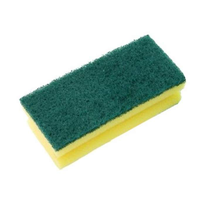 BUDGET GREEN SPONGE BACK SCOURERS - Pack 10
