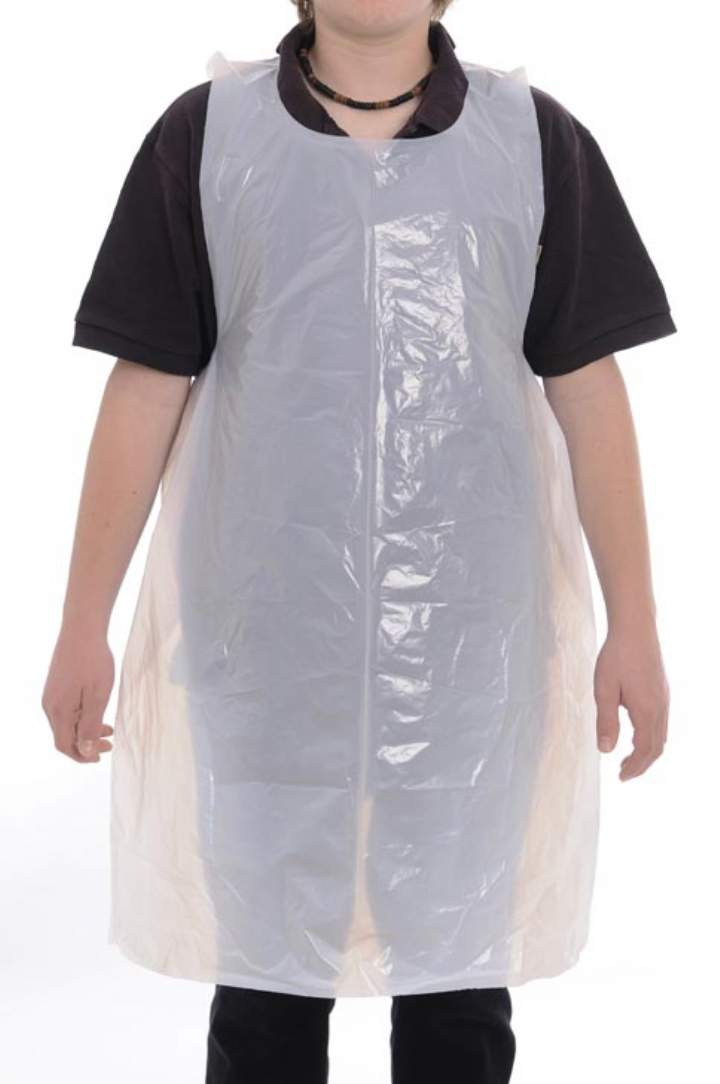 WHITE POLYTHENE APRONS FLAT PACKED - Ctn 10x100