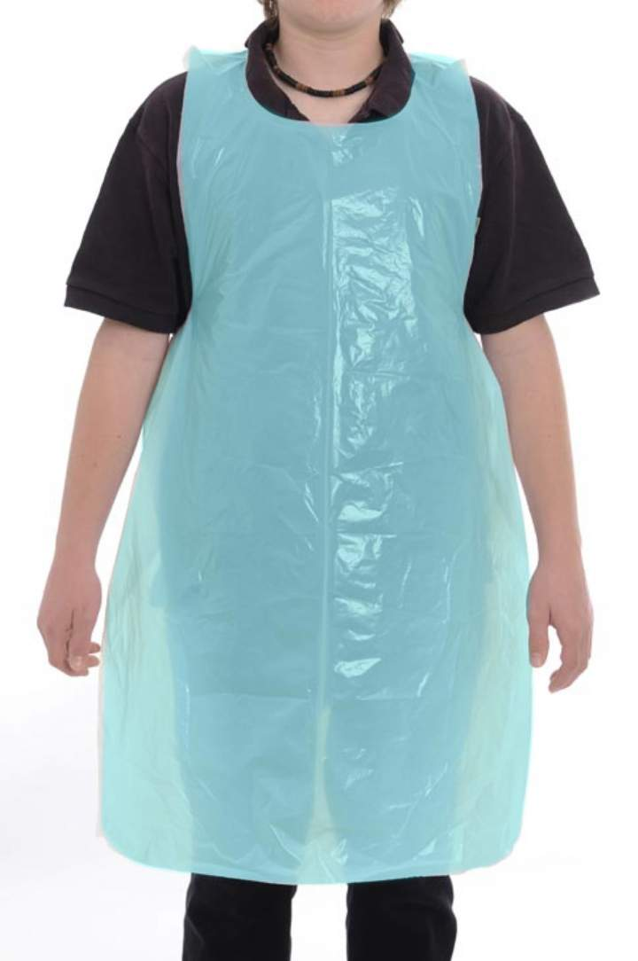 BLUE POLYTHENE APRONS FLAT PACKED - Ctn 10x100