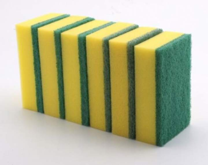 PREMIUM GREEN THICK SPONGE BACK SCOURERS - Pack 6