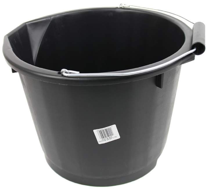 BLACK H.D PLASTIC BUCKET 15ltr - Each