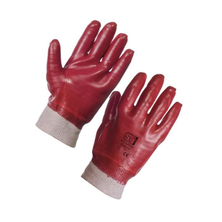 RED PVC KNITTED WRIST GLOVES LARGE - Pair