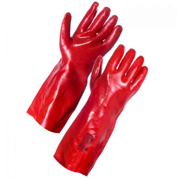 RED PVC GLOVES OPEN CUFF 10